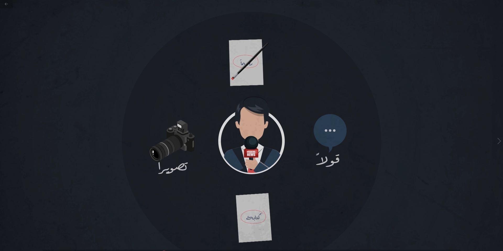"""""""موشن جرافيك"""" عن حقوق وواجبات الصحفيين في فلسطين"""